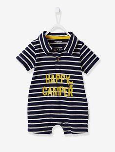 Macacão curto, para bebé menino - Azul-tinta às riscas+Caqui-claro às riscas - 1