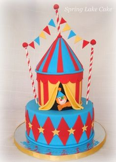 circus cake By springlakecake on CakeCentral.com - Seriously want to make one of these circus themed cakes!!