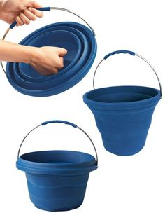 Sturdy 2-gallon bucket fits in a drawer. This clever silicone version is there when you need it, then collapses flat to store when you're done.