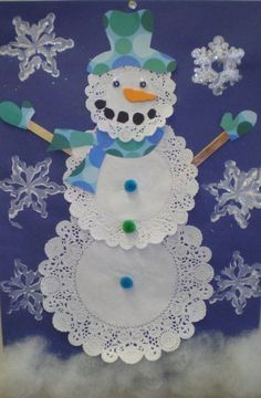 Doily Snowmen - winter craft for