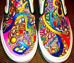 Sharpie your canvas shoes!  Spray Scotch Guard to set it and protect your art.