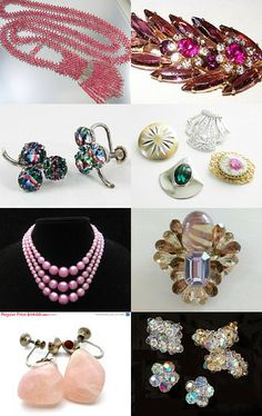 """""""In the Pink"""" EcoChic Team New Year's Eve Fresh Finds!  #pink #vintage #jewelry"""