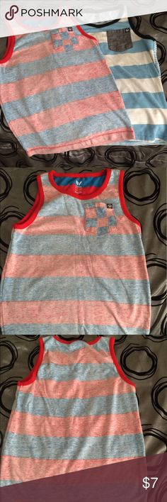 Shaun White Boys Tank Top bundle Gently worn, clean, 2 Shaun White boys tank tops, size XS 4-5. 1st tank has cool faded inside out look with red & blue stripes & checked pocket & logo. 2nd tank is my fav & sad to see it go but doesn't the boys anymore. 😔 Light blue & white stripes with a denim pocket & logo. Can. A dress up with a nice pair of khaki shorts & a nice pair of white tennys. Great for those warm summer days when the boys want to run around outside & keep cool while still looking…
