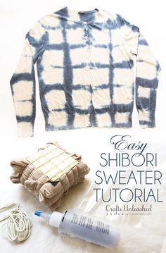 Shibori Tie-Dye Sweater Tutorial Inspired by Anthropologie's Azul Dye Pullover
