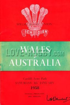 #rugby - 04/01 in 1958 - Wales 9-3 Australia -  Wallabies rugby tour match at Principality Stadium, Cardiff