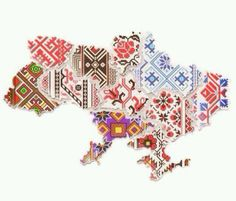 Patchwork of embroidery makes up a map of Ukraine Ukrainian Tattoo, Ukrainian Art, Ukraine, Embroidery Patterns, Cross Stitch Patterns, Ukrainian Recipes, Culture, My Heritage, Eastern Europe