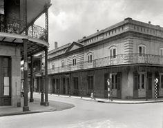 "New Orleans circa 1937. ""Le Petit Theatre du Vieux Carre, Chartres and St. Peter streets."" 8x10 acetate negative by Frances Benjamin Johnston."