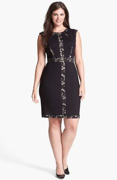 ABS by Allen Schwartz Lace Block Sheath Dress (Plus Size) available at #Nordstrom