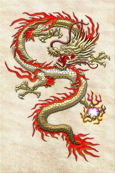 golden chinese dragon fucanglong on rice paper , by serge averbukh
