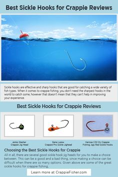 Best Sickle Hooks for Crappie: Sickle hooks are effective and sharp hooks that are good for catching a wide variety of fish types. Sickle hooks are famed for their sharp and effective designs, which is why you'll want to buy those that are sharper as compared to those that simply stump. Crappie Jigs, Crappie Fishing Tips, Fishing Jig, Fishing Stuff, Fishing Lures, Salt And Water, Fresh Water, Bright Paintings, Orange Design