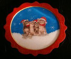 Individual navideño en MDF o trupan. Técnica de servilleta, craquelado y resinado