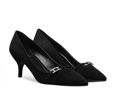 "Lauren 60 Hermes ladies' pointed toe pump in suede goatskin with ""Hapi"" buckle covered with rhinestone elements, 2.4"" black suede goatskin heel"