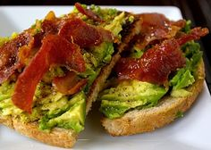 Avocado Toast with Crisped Prosciutto - simple, fast, and delicious! The recipe says to drizzle salt and pepper on there...but the salt isn't absolutely necessary since you'll have some of that salty flavor from the prosciutto. Also, if you're looking to save on calories, you can nix the olive oil.
