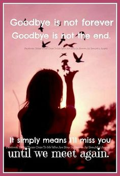 'Goodbye is not forever. Goodbye is not the end. It simply means I'll miss you until we meet again. Miss Mom, Miss You Dad, Goodbyes Are Not Forever, Loved One In Heaven, Grieving Quotes, Grief Loss, Messages, I Missed, Me Quotes