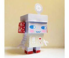 DIY  - Paper Toy Box  -Retro Robot - Printable PDF 300dpi digital file