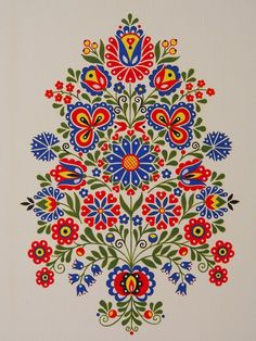 Folk Gorodets painting from Russia. Hungarian Embroidery, Folk Embroidery, Embroidery Patterns, Polish Embroidery, Folk Art Flowers, Flower Art, Polish Folk Art, Russian Folk Art, Scandinavian Folk Art