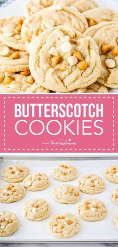 Perfectly soft white chocolate butterscotch cookies - these will melt in your mouth and become your new favorite! This butterscotch cookie recipe is one of my go-to desserts and is always a crowd pleaser. So delicious! Butterscotch Cookies Recipes, Best Cookie Recipes, Brownie Recipes, Apple Recipes, Sweet Recipes, Baking Recipes, Cookie Desserts, Just Desserts, Delicious Desserts