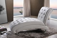 - Info - Colors - Dimensions Extend your legs in comfort on this elegant chaise lounge. This Patti contemporary white leather upholstered and crystal tufted chaise lounge features white faux leather u