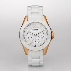 Ceramic white and rose gold watch from Fossil.. Gorgeous.