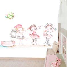 Decoración infantil Il Mondo di Alex, Papel mural efecto pintado a mano, PIRATAS NIÑAS ... personalizado con nombre o frase y a medida.
