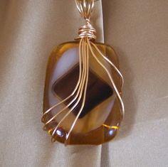 Handmade Jewelry Pendant, Wire Wrapped, Fused Glass, Shades of Amber & Brown | GrumpyGrandmasGiftShop ArtFire Gallery
