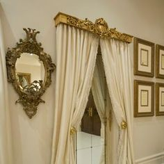 Window Cornices, Window Coverings, Window Treatments, Tuscan Decorating, Interior Decorating, Interior Design, Curtains With Blinds, Hallway Curtains, Silk Curtains
