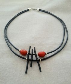 Leather necklace.