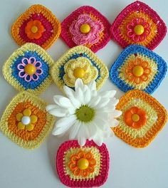 crochet squares - Some girls were asking about adding buttons, hangers etc..