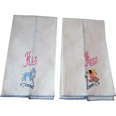 Guest Towels Vintage 1950s Linen Embroidery Dogs His Hers Mint