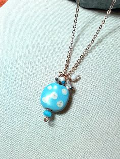Light Blue and Spotted Handmade Ceramic Focal by Justatishdesigns