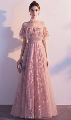 Sequins Party Maxi Dress – VIVIMARKS Pink Formal Dresses, Casual Dresses, Fashion Dresses, Dress Outfits, Pretty Dresses, Beautiful Dresses, Romantic Dresses, Frack, Cocktail Dress Prom