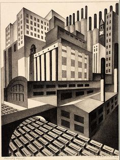 """Louis Lozowick (Russian born American, 1892 – 1973) was a painter and printmaker. """"Cleveland"""", 1923 ~ lithograph"""