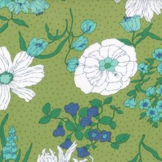 Colour Me Happy - Flower Garden in Lime // Moda Fabrics at Juberry Laminated Cotton Fabric, Batik Quilts, Green Theme, Happy Flowers, Cool Fabric, Sewing Notions, Cool Websites, Floral Flowers, Craft Projects