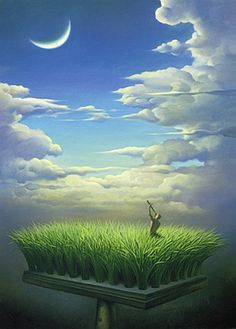 ♂ Dream imagination surrealism Surreal art man fly book in the sky paintings by Vladmir Kush man in grass field look at the sky