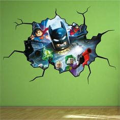 Lego Batman Cracked Wall Full colour print Wall Art Sticker Decal Mural Boys | eBay