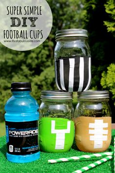 Get ready for football season with these DIY Football Mason Jar Cups! They're an easy craft that will make game day fun!