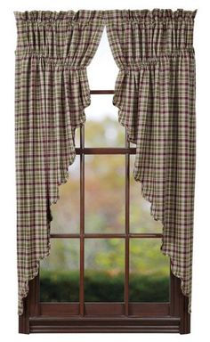Create a country look to your home with our plaid Jackson Scalloped Lined Prairie Curtains! https://www.primitivestarquiltshop.com/products/jackson-scalloped-lined-prairie-curtains #countrystylecurtains