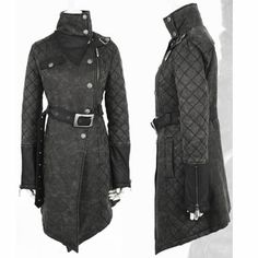 Black Leather Belted Gothic Steam Punk Military Trench Coats Men Women SKU-11401697