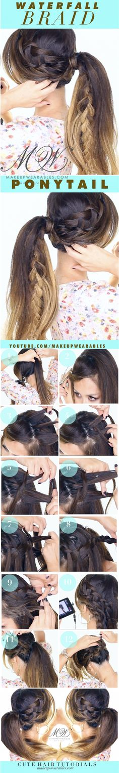 Fall #styles | Cute Waterfall Braid Pony #hair tutorial | Everyday #hairstyles #updos