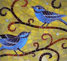Birds Mosaic:  For Kitchen inspiration....I like the idea of swirlies for branches...