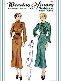Moderne- 1930s Art Deco Dress reproduction pattern. 30-40inch bust, $22 #sewing #retro