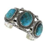 Genuine Sterling Silver Navajo Turquoise Jewelry Cuff Bracelet AX96861