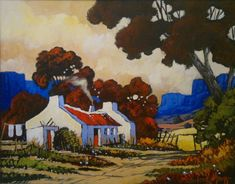South African Contemporary and Upcoming Artist & Old Masters Art Gallery. Landscape Paintings, Oil Paintings, Landscapes, Tuscany Landscape, African Art Paintings, Building Painting, Upcoming Artists, South African Artists, Cottage Art