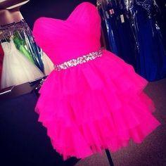 Hot pink fluffy dress