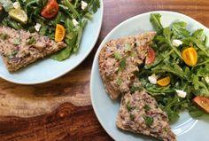 Eggplant Crostini with Tomato Arugula Salad @cookinglight #meatlessmonday #vegetarian