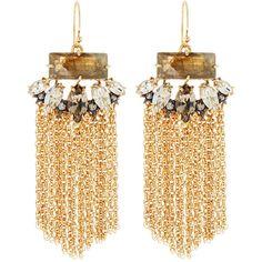 Alexis Bittar Elements Navette Tassel Earrings ($113) ❤ liked on Polyvore featuring jewelry, earrings, gold, chain fringe earrings, golden jewelry, earrings jewelry, chains jewelry and golden earring