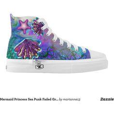 Mermaid Princess Sea Punk Faded Grunge Pastel Printed Shoes (165 CAD) ❤ liked on…