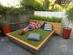 Jason has a neat idea that shows that even in the barest space you can still have a grassy bed, perfect for a backyard picnic or a an afternoon nap.