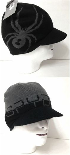 52f8e6499bf New 30 Reversible SPYDER VISOR BEANIE Black Gray Winter Knit Ski Hat Brim  Mens