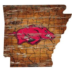 Consumed with state pride and a love of the Razorbacks? Consider this wall art as your road map to Arkansas. This spirited state showcases a road map of Arkansas plus the location of your favorite team, the Arkansas Razorbacks. The wall sign is. Map Of Arkansas, University Of Arkansas, Arkansas Razorbacks, Utah Utes Football, Football Wall, Louisville Cardinals, Logo Sign, Ohio State Buckeyes, Team Logo